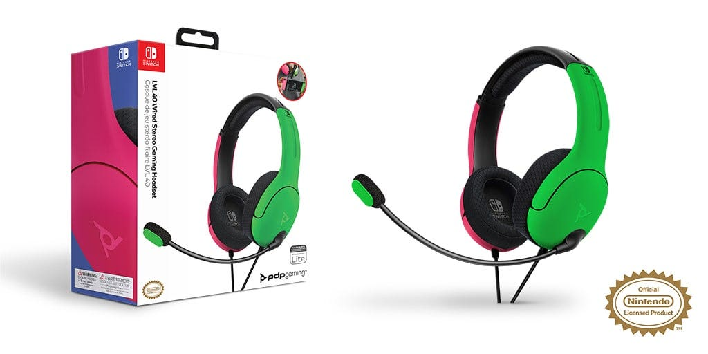 pink and green wired LVL40 headset packaging