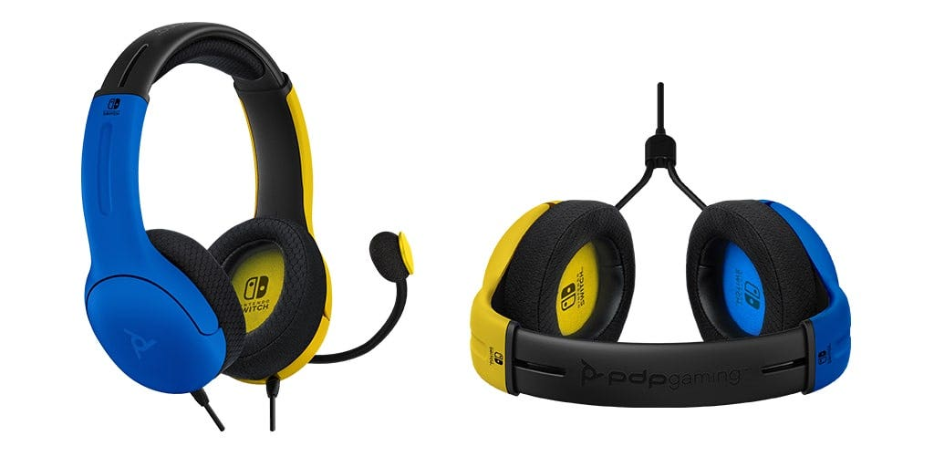 Yellow and blue wired LVL40 headset for Nintendo Switch