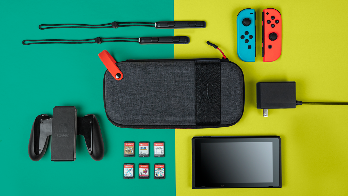 top down pdp gaming nintendo switch case and accessories